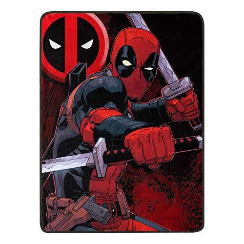 Marvel Deadpool, Swordsman Micro Raschel Throw Blanket, 46 x 60, Multi Color