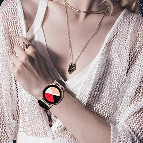 PENKEY 20mm Scrunchie Watch Band Compatible with Samsung Galaxy Watch 42mm,Soft Classic Pattern Replacement Wristbands for Samsung Galaxy Watch Active/Active 2 51igmBZZJML