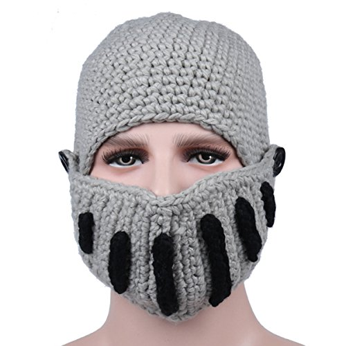 Sombrero Gorra a Roma Tejer Invierno masculina Gladiador Caballero Máscaras mano tejido Gris 5Wqz6wU