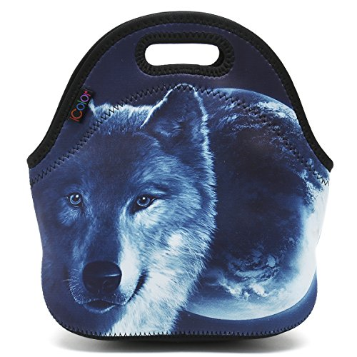 ICOLOR Cool Wolf Boys Insulated Neoprene Lunch Bag Tote Handbag lunchbox Food Container Gourmet Tote Cooler warm Pouch For School work -