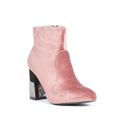 2ced1ac988a10 Ideal Shoes Bottines Effet Velours avec Talon carré Métal Priscilla Rose 41