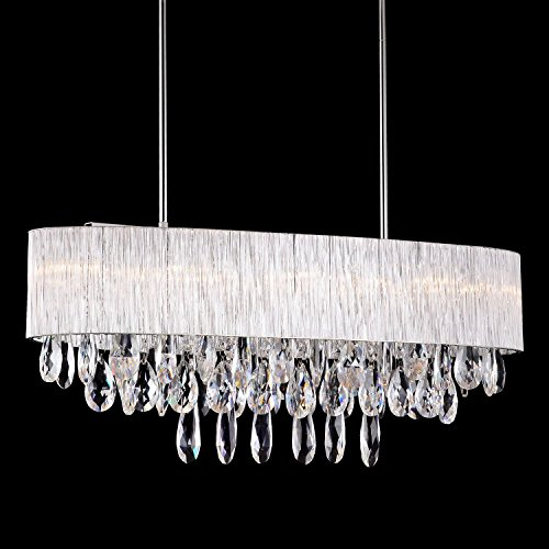 10 Bulb Oval Drum Ribbed Glass Shade Pendant Lighting Crystal Chandelier L32