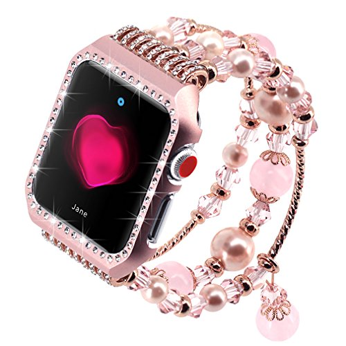 Falandi Apple Watch Band 38mm, Glittering Diamond Metal Case with Handmade Elastic Stretch Bracelet Fashion Women Girls Rhinestone Replacement Strap for iWatch Series 3/2/1