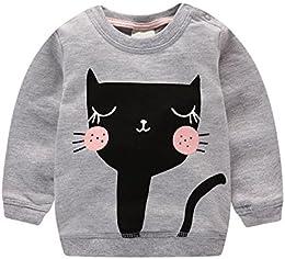 Baby Girl Pullover Cat Print Sweatshirt