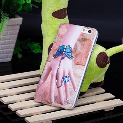 Infinite U 3D Bling Strass La Main de la femme avec Fleur de Papillon Phone Case/Coque/Etui/Housse de Protection pour iphone 6/iphone 6s (4.7 Pouces) Femme