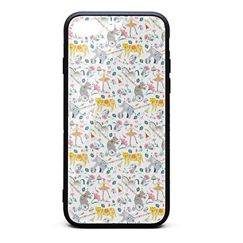 (Circus Circo Florals Animals Cool iPhone 8 plus Case,iPhone 7 plus Case Shock-Absorption Flexible Soft Rubber TPU Bumper/Anti-Finger/Anti-Scratch/Phone Case For iPhone 8 plus Case/iPhone 7 plus)