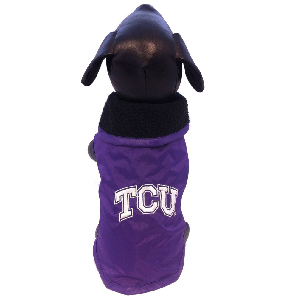 NCAA Texas Christian Horned Frogs All Weather Resistant Predective Dog Outerwear, Large