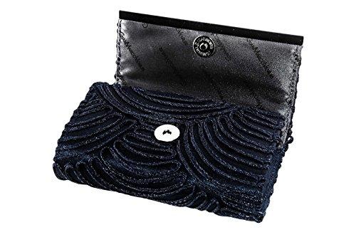 Borsetta donna chic GIANMARCO VENTURI blu pochette con tulle e strass N543 Tienda Online De Venta POrBz