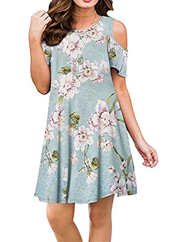 Mai Poetry Women's Floral Print Cold Shoulder Tunic Top Swing T-Shirt Loose Casual Dress with Pockets(Large, Peony) -