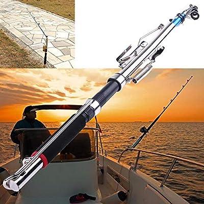 W-SHUFANG, Fibra de Vidrio 2.1 m Caña de Pescar automática Spinning Sensible Telescópica Automática Muelle de caña de Pescar de Fibra de Vidrio Hielo for la Carpa de Invierno Aparejos de Pesca: