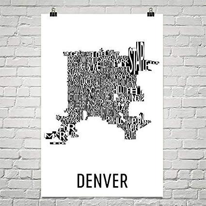Amazon.com: Denver Typography Neighborhood Map Art City Print ... on