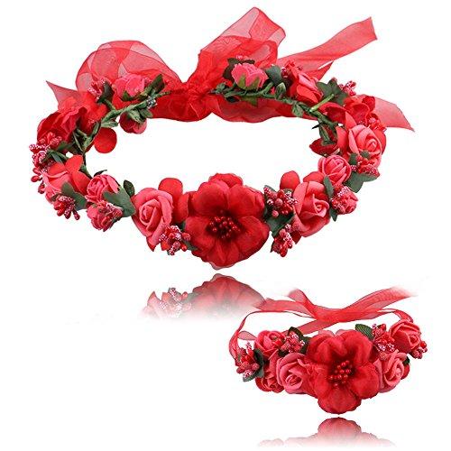 (HAPIGOOD Women's Cloth Handmade Bohemia Wrist Flower Garland +Wedding Headband Accessories Seaside Holiday (Red))