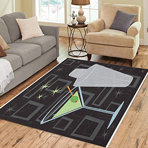 (Pinbeam Area Rug Retro Martini Shaker Over Groovy All Together Separately Home Decor Floor Rug 2' x 3' Carpet)