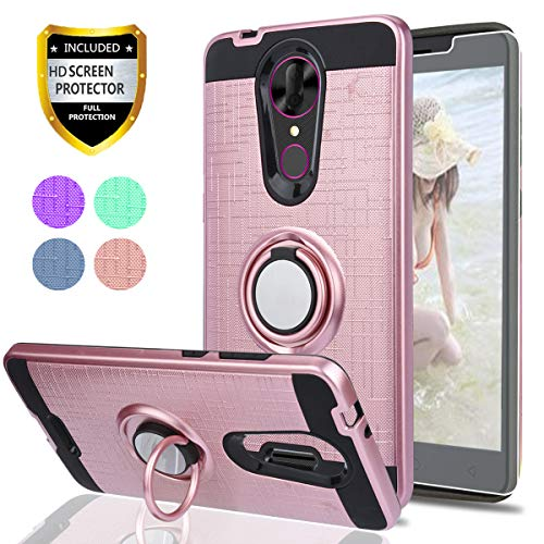 Coolpad Revvl Plus Phone Case,Revvl Plus(T-Mobile) Case with HD Screen  Protector,Ymhxcy 360 Degree Rotating Ring & Bracket Dual Layer Shock  Resistant