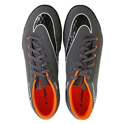 Nike Mens Hypervenom Phantomx 3 Accademia Tf Turf Scarpe Da Calcio (grigio Scuro, Arancio Totale) Grigio / Rosso