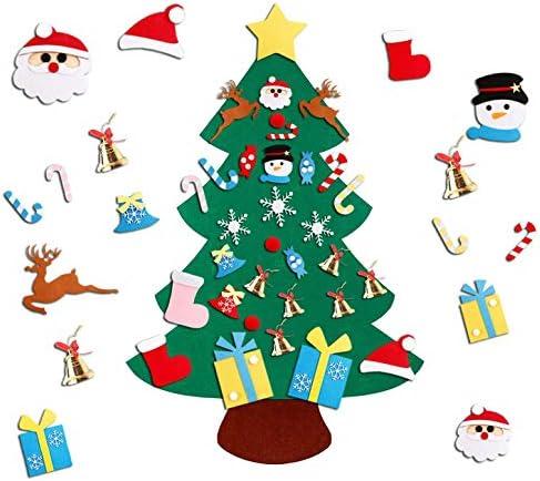 YOUYIKE 95x70cm Feltro Albero Natale con 32 Pezzi Ornamenti Staccabile Decorazione da Parete,Albero di Natale in Feltro per Bambini Natale Regali Home Porta Parete Decorazione (S-A)