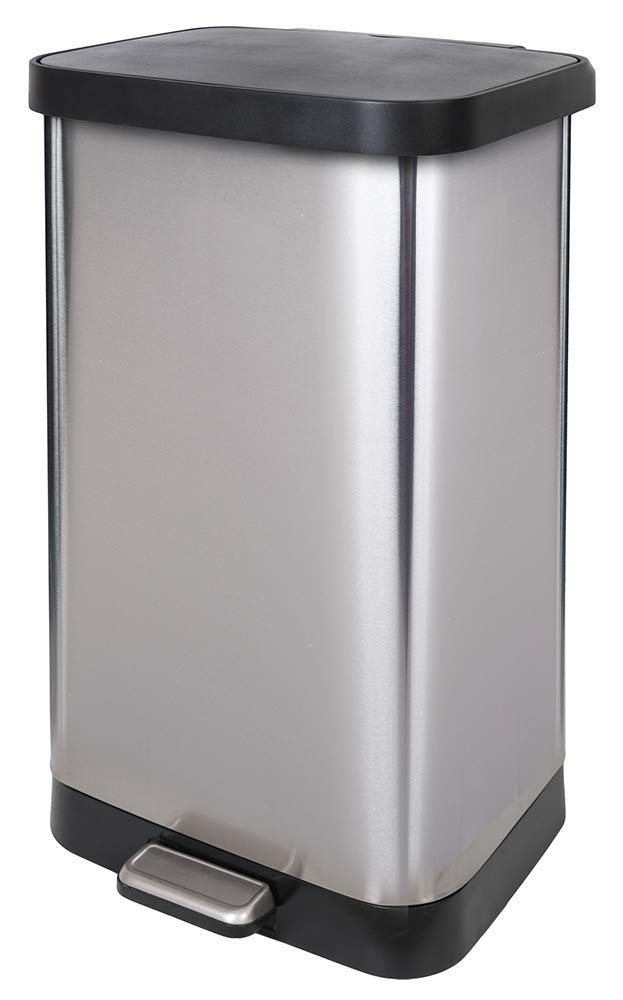 GLAD GLD-74507 Extra Capacity Stainless Steel Step Trash Can with Clorox Odor Protection of The Lid | Fits Kitchen Pro 20 Gallon Waste Bags