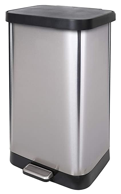 Amazon Com Glad Gld 74507 Extra Capacity Stainless Steel Step Trash
