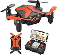 Mini Drone with Camera for Kids Beginners, Foldable Pocket RC Quadcopter with App Gravity Voice Control Trajec