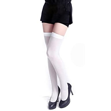 SHOBDW Mujer Moda Puro Sólido sobre la rodilla Calcetines altos Calcetines largos suaves Tentación Estiramiento Calcetines de nylon Nueva diversión Funky ...
