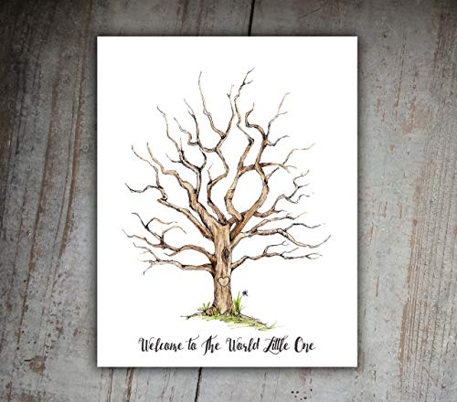 Baby Shower Fingerprint Family Tree 11x14 Print Guest Book -