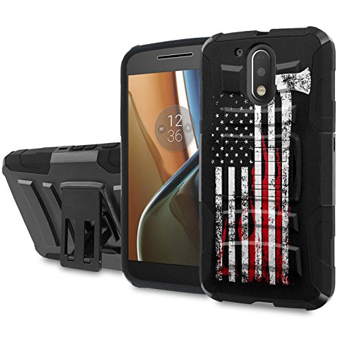 Moto [G4] [G4 Plus] Armor Case [SlickCandy] [Black/Black] Heavy Duty Defender [Holster] - [Fire Fighter Axe Flag] for Motorala G [4th Gen] [G4 XT1625] [G4 Plus XT1644] -  SlickCandy for Moto [G4] [G4 Plus], P-MOTOG4-1E6-BKBK-CBT-P003C
