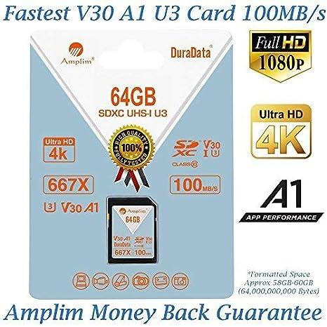 Amplim - Tarjeta SD SDXC de 64 GB (clase 10, U3, UHS-I, V30 ...