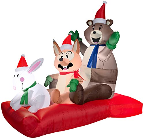 Gemmy Airblown Inflatable Animated Woodland Critters on a Sled - Indoor Outdoor Holiday Decoration, 6-foot Tall x 6-foot Long x 3.5 Wide