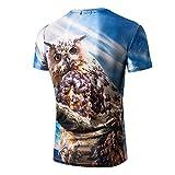 OWMEOT Mens Cool 3D Print Tshirts Short Sleeve Crewneck Graphic Tee Shirts Tops S-XXL (Blue 43, M)