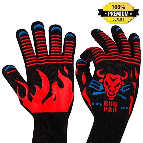 BBQ Gloves - Heat Resistant Gloves - Best Grill Gloves - Premium Oven Gloves - BBQ Grilling Gloves for Men Women - Fireproof Gloves - Barbecue Pit Mitt - Sale Barbecue Gloves - BBQ Grill Accessories (Sale Bar For Accessories)