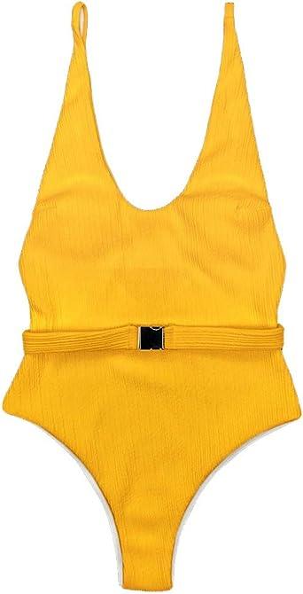 Lazapa One-Piece Bikini with Belt Buckle Deep V-Neck Tankini Swimsuits for Women Tummy Control