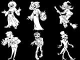 Chic Walls Removable Pack of 6 Halloween Zombie Scarecrow Witch Skeleton Frankenstein Wall Glass Window Door Decoration Art Vinyl Decal Sticker Kids Room Living Room Kitchen White 30'' tall