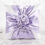 LONGBLE White Elegant Wedding Ring Pillow Purple Satin Cross Knot Lilac Flowers Decoration Ring Cushion Bearer Slim Ribbon 18cm Square (W7)