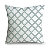 Light Green Moroccan Quatrefoil Cotton Canvas Decorative Throw Pillow Case Cover for Sofa or Living Room, 18''x 18''