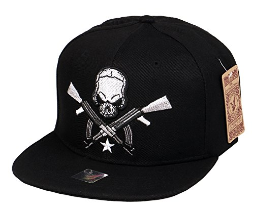 (RufnTop Embroidered Adjustable Flat Bill Baseball Punk Hat Snapback Cap(AK Rifle Skull Black))