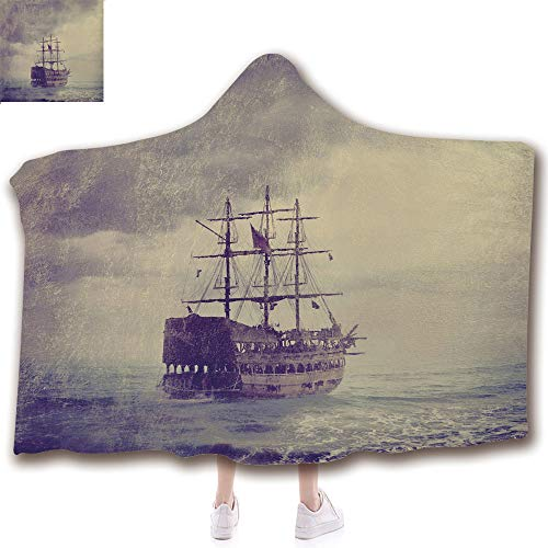 scocici Fashion Blanket Ancient China Decorations Blanket Wearable Hooded Blanket,Unisex Swaddle Blankets for Babies Newborn by,Ship in The Sea Historic Legend Cruise Retro,Adult Style Children Style