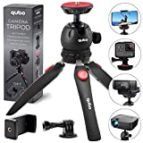 qubo Mini Tripod Camera Holder - Premium Tabletop Small Phone Tripod Mount for GoPro iPhone/Any Mobile Phones Webcam Projector Compact DSLR - Desktop Tripod Table Stand Hand