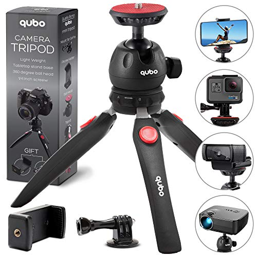 Digital Camera Holder - qubo Mini Tripod Camera Holder - Premium Tabletop Small Phone Tripod Mount for GoPro iPhone/Cell Phones Webcam Projector Compact DSLR - Hand Desktop Tripod Stand Table