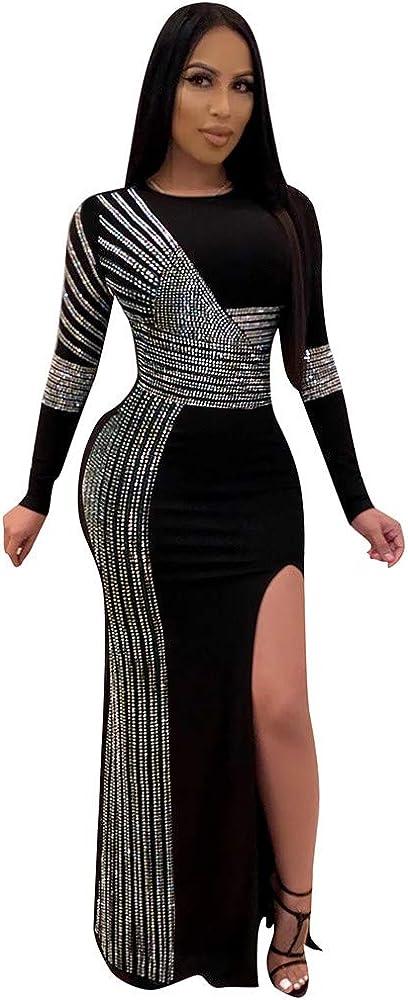 Amazon Com Side Slit Dress Women Diamonds Long Sleeve Sexy Party Evening Gown Prom Maxi Black Clothing