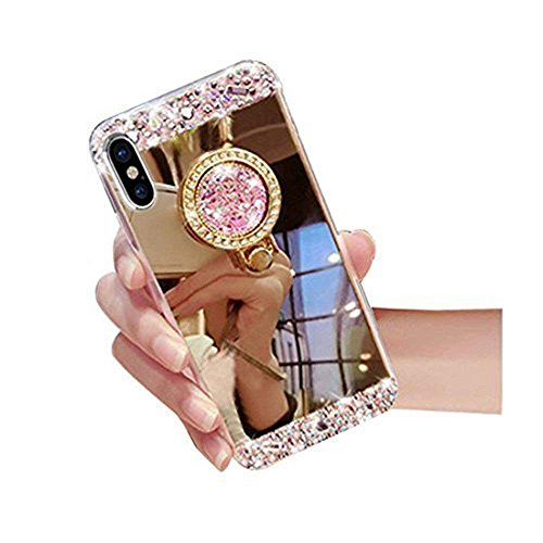 iPhone 6 Case,Inspirationc Crystal Rhinestone Mirror Glass Case Bling Diamond Soft Rubber Makeup Case for iPhone 6/6S 4.7 Inch with Detachable 360 Degree Ring Stand--Gold