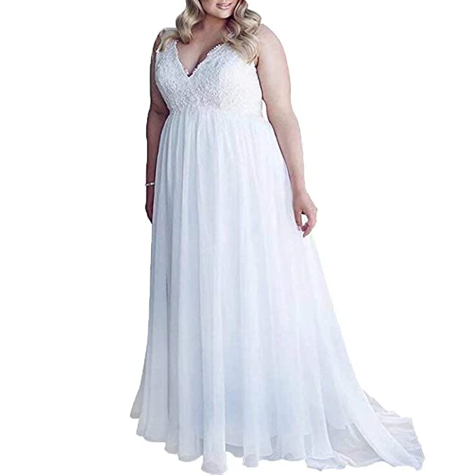 Wedding Dress Plus Size Bridal Gown Lace Beach Wedding Gowns ...