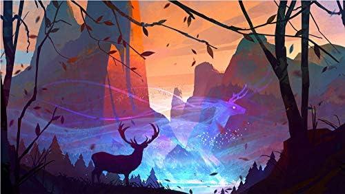 明華ビジネス 大人と子供のためのデジタルスイートの絵画、DIY油絵-ジムコーベット国立公園のアジア象 50X80CM