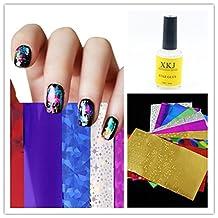 Warm Girl 12pc Nail Art Transfer Foil 1pc Star Glue Nail Art Sticker DIY Nail Art Decorations Set