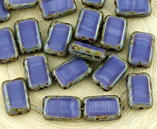8pcs Picasso Brown Silk Purple Table Cut Flat Rectangle Czech Glass Beads 8mm x 12mm