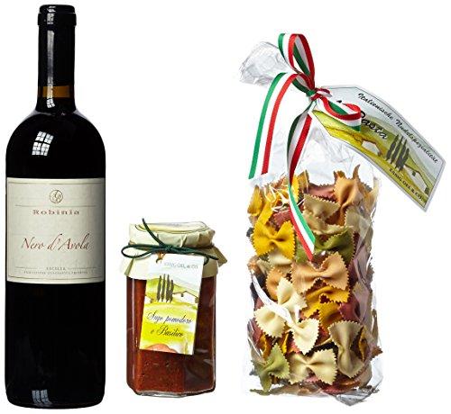 Geschenk Set Italien-Urlaub mit Rotwein Nero d'Avola, bunter Pasta und Sugo