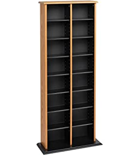 Prepac Double Multimedia Tower Storage Cabinet, Oak And Black