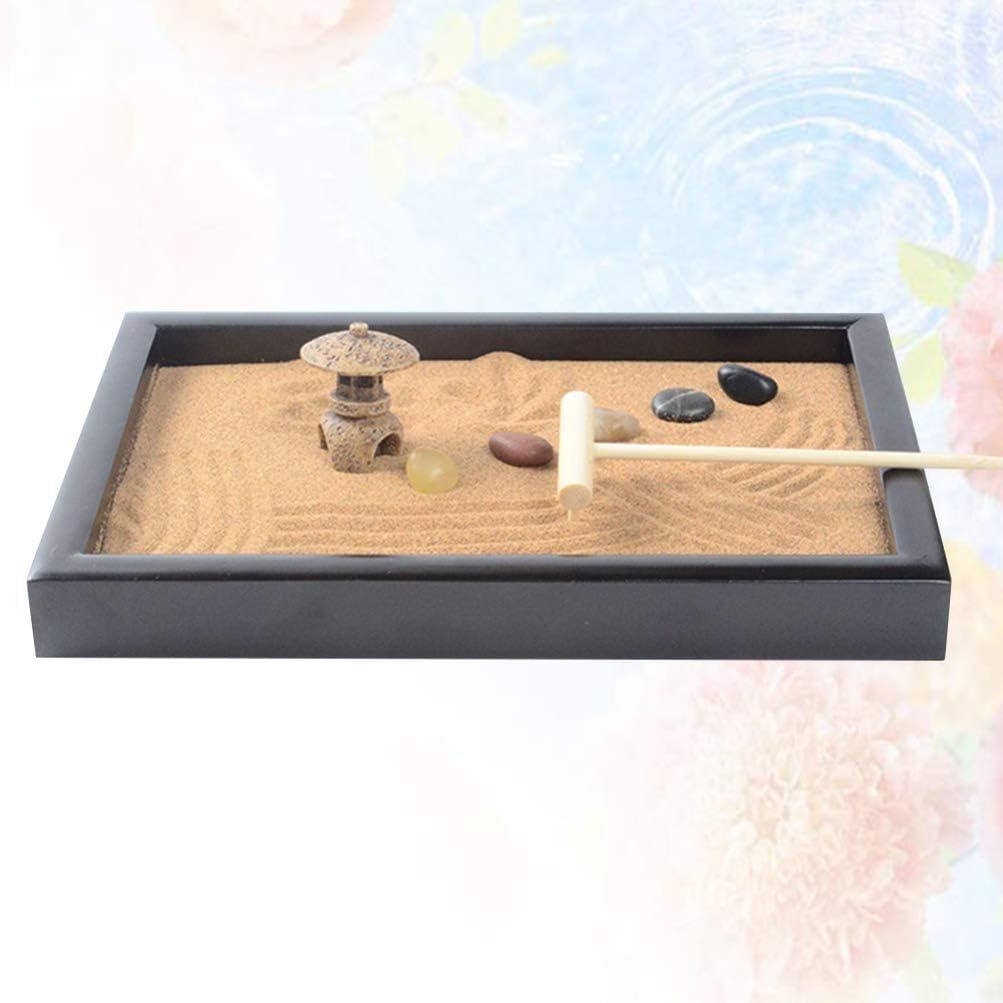 BESPORTBLE Escritorio Mini Zen Jardín Meditación Zen Jardín Bandeja Piedra Miniatura Hada Jardín Adorno Kit para Decoración de Escritorio (Negro): Amazon.es: Hogar