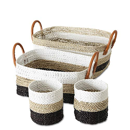 Cod Cape Baskets - Cape Cod Natural, Black, and White Striped Rustic Nesting Baskets, Set of 4, Round and Rectangular, Faux Leather Handles, Woven Seagrass, Storage and Organization, 19, 11, and 10 Inches