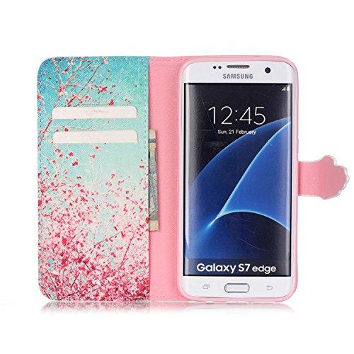 Funda para Galaxy S7 Edge, Galaxy S7 Edge Funda de PU cuero resistente, Galaxy S7 Edge Ultra Slim PU Cuero Folding Stand Flip Funda Carcasa Caso,Galaxy S7 Edge Leather Case Wallet Protector Card Holde Azul y flores de color rosa