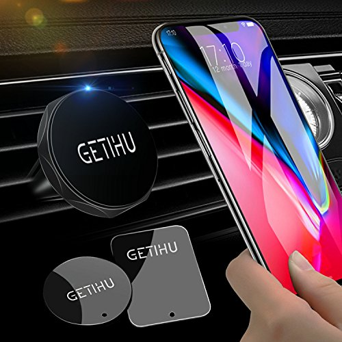 GETIHU Universal Air Vent Car Mount Holder 2 Pack Magnet Cell Phone Stand for iPhone X 8 7 6 6S Plus 5 5s Samsung HTC SONY All Smartphones GPS Mobile Magnetic Support(Black)